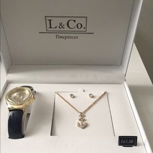 Watch, necklace, and earring set L & Co timepieces